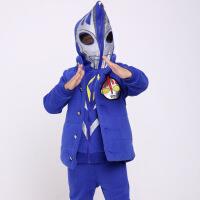男童装套装2017新款儿童卫衣三件套 蓝 款迪迦