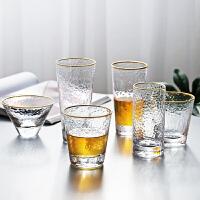 光一锤纹玻璃杯透明简约奶茶杯创意水杯家用套装ins火的杯子网红女