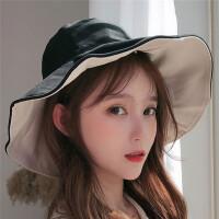Makino/犸凯奴 新款薄款防晒遮脸遮阳帽大帽檐太阳帽双面可戴渔夫帽