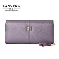 【支持礼品卡】LANVERA2018新款时尚真皮长款钱包女头层牛皮拉链钱夹时尚韩版女式包包零钱包 L6633