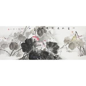 北京美术家新锐联盟一级美术师柳青《一茎孤影绿》179*69CM
