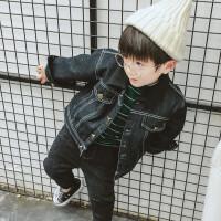 儿童装男童羊羔毛牛仔外套宝宝加绒上衣小童加厚夹克婴儿衣服潮 黑色
