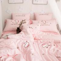 粉色独角兽60支长绒棉刺绣贴布绣四件套纯棉被套全棉床单床上用品 粉色独角兽套件 2.0m(6.6英尺)床 床单款