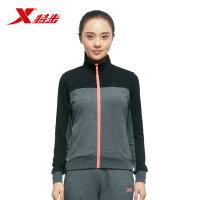 特步运动装拼色女上衣舒适针织女装长袖运动拉链春季薄外套983328061337