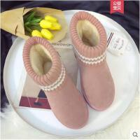冬季新款韩版学生百搭加绒雪地靴短筒平底棉鞋保暖短靴女鞋潮