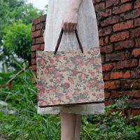 文艺复古玫瑰花牛皮纸衣服装店购物礼品面膜手提袋子定做印刷logo 1