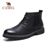 camel骆驼男鞋 秋冬新品青年休闲潮靴英伦复古系带牛皮鞋子
