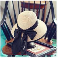 遮阳帽 子女士防晒草帽大沿帽休 闲百搭蝴蝶 结太阳帽可折叠出游凉帽