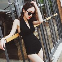韩国新款黑色挂脖性感连体泳衣女小胸聚拢遮肚显瘦温泉保守游泳衣 黑色