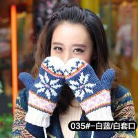 挂脖毛线手套 女网红同款时尚韩版逛街加绒加厚可爱针织手套 女士骑车潮户外运动新品