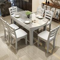 餐桌实木餐桌椅现代简约折叠可伸缩餐桌小户型钢化玻璃电磁炉圆桌