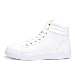 2017冬季新款男鞋高帮加棉加绒鞋男士保暖棉鞋学生休闲板鞋潮小白鞋