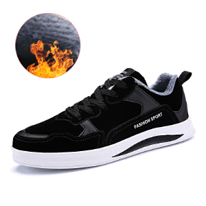 冬季帆布鞋男加绒休闲鞋韩版情侣板鞋学生布鞋青少年高帮男棉鞋子