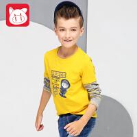 小猪班纳童装男童长袖拼接T恤2017秋装新款中大童上衣儿童体恤男