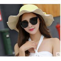 可折叠凉帽遮阳帽草帽沙滩帽潮帽子女夏天太阳帽防晒帽镂空遮阳帽