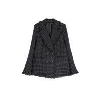 气质流苏格子黑色小西装毛呢外套女短款小香风呢子大衣