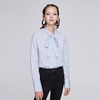 【10.16联合品牌日 预估到手价:558元】dzzit地素 19春装新款花边系带领蓝白条纹休闲衬衫女3G1C4202