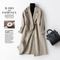 赫本风毛呢大衣女中长款毛呢外套韩版双面呢零羊绒大衣女羊毛大衣