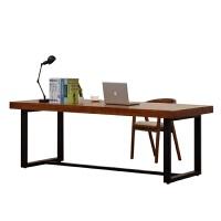 北欧实木电脑桌台式家用游戏学习书桌美式简易双人四人位大办公桌