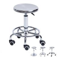 医院不锈钢升降旋转酒吧椅子吧台椅实验室滑轮铁凳子工作圆凳