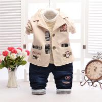 童装男童套装2018春秋儿童宝宝衣服西服1-2-3-4-5岁小西装三件套 12码 建议10个月-2岁