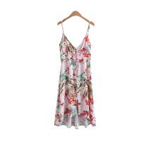 女装海边度假风碎花吊带V领连衣裙夏欧美风性感中长裙女