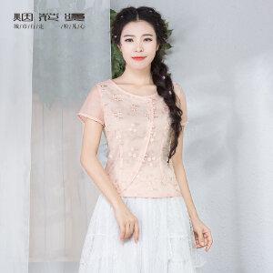 烟花烫  2018夏新装新款女装气质修身韩国纱绣花T恤衬衫上衣 淑妍