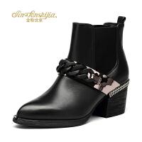 金粉世家 红蜻蜓旗下 冬季新款女短靴欧美切尔西靴真皮尖头粗跟靴