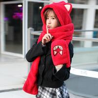 季女本命年大红羊绒围巾帽子手套三件一体套装学生保暖可爱
