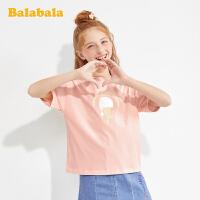 巴拉巴拉女童短袖t恤儿童打底衫夏装大童上衣时尚印花女