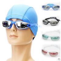 户外泳镜 舒适大框防雾电镀防紫外线游泳镜 男女通用成人近视泳镜