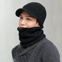毛线帽男帽子冬时尚韩版潮人百搭鸭舌帽男士加绒保暖针织帽围脖两件套