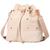 休闲女包潮水桶包铆钉抽绳单肩斜跨包帆布包