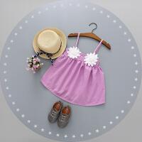 女童夏装连衣裙2017新款童装儿童背心裙0-1-2-3岁婴幼儿宝宝裙子 浅紫色 两朵花吊带裙