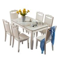 20190104060059312简约现代白色大理石餐桌椅组合6人长方形实木家具餐桌椅烤漆饭桌