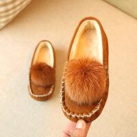 2017季款儿童棉鞋韩版女童真毛球保暖鞋宝宝缝包软底加棉豆豆鞋