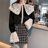 冬季新款翻领蕾丝拼接喇叭袖气质衬衣复古宽松丝绒长袖衬衫上衣女 黑色 均码