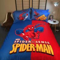 棉卡通美国队长蝙蝠侠儿童四件套棉男孩女孩床单三件套床品