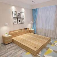 现代简约板式床床1.51.2米床1.8米双人床高箱储物床收纳床 床+2床头柜+5cm床垫 1800mm*2000mm