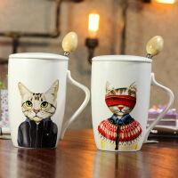 包邮 2017新款卡通喵星人陶瓷杯 大容量猫咪创意马克杯子带盖学生水杯