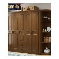 中式衣柜实木收纳简约现代三四五开门组装木质储物家用衣橱主卧室