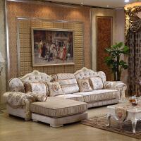 欧式田园布艺转角沙发组合简欧家具白大小户型客厅实木沙发可拆洗 组合