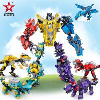 星钻积木积变战士玩具拼装变形机器人金刚男孩益智恐龙积木
