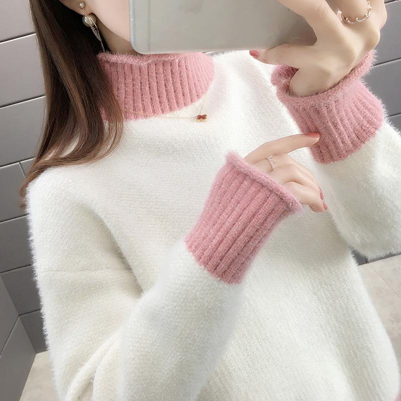 半高领雪毛衣女2010秋冬新款套头水貂绒外穿宽松打底衫女加厚