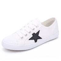 白色帆布鞋女夏2016新款平跟学生韩版五星小白鞋女士布鞋休闲鞋