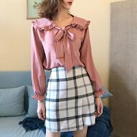 韩国 chic 波浪边荷叶边衬衫+背心裙