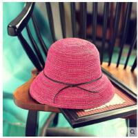 可折叠简约太阳帽 拉菲草帽女夏天出游防 晒遮阳帽小沿度假休闲帽子