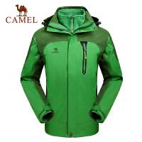 camel骆驼户外男款冲锋衣 保暖防水透气三合一两件套冲锋衣