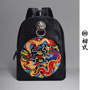 【支持礼品卡支付】初�q中国风潮牌双龙戏珠复古刺绣双肩包书包电脑街头背包