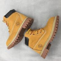 秋冬男童英伦风女童短靴小黄靴宝宝棉鞋亲子雪地靴 黄色 牛皮单靴